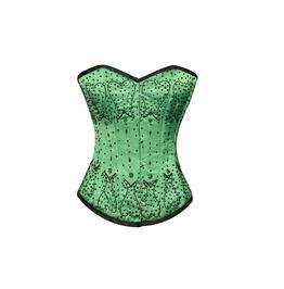 Green Satin Black Sequins Burlesque Bustier Waist Training Overbust Corset