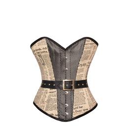 Vintage Newspaper Print & Satin Central Panel Leather Belt Overbust Corset