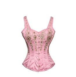 Pink Satin Silver Sequins Shoulder Straps Burlesque Bustier Overbust Corset