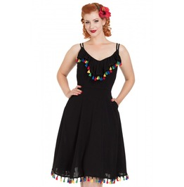 Voodoo Vixen Veronica Black Flared Summer Dress