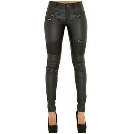 Biker Black Vegan Leather Zipper Women Pant