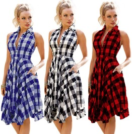 Womens Lattice Casual Cotton Dress