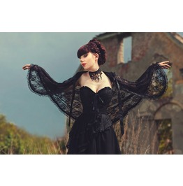 Elegant Gothic Lace Cape With Big Hod Vampire Costume Glamour, Collar Black
