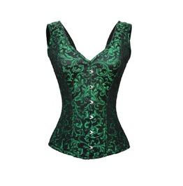 Green Black Brocade Shoulder Straps Burlesque Bustier Overbust Corset Top