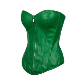 Green Leather Gothic Steampunk Bustier Waist Training Overbust Corset Top
