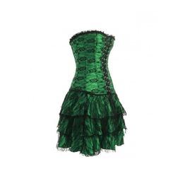Green Satin Gothic Burlesque Bustier Costume Skirt Overbust Corset Dress