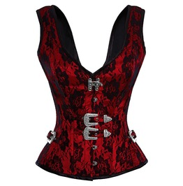 Red Satin & Net Covered Shoulder Strap Gothic Burlesque Overbust Corset Top