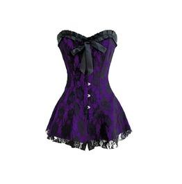 Purple Satin Black Net Frill Gothic Burlesque Bustier Overbust Corset Dress