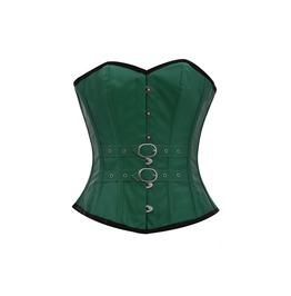 Green Faux Leather N Belts Steampunk Bustier Waist Training Overbust Corset