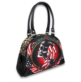 Gypsy Skull Bowler Bag Gothic Rockabilly Handbag