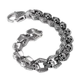 Stainless Steel Bracelet Dragon Skull Link Clasp Gothic Biker