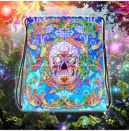 Sugar Skull Psychedelic Purple Drawstring Bag Many Eyes To Choose From