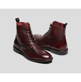 Handmade Men Burgundy Lace Up Boots, Men Ankle Leather Boots, Men Boots
