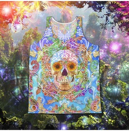 Unisex Psychedelic Colorful Sugar Skull Tank Top