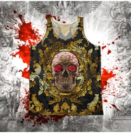 Unisex Baroque Gold And Red Sugar Skull Tank Top