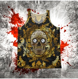 Unisex Baroque Gold Sugar Skull Tank Top