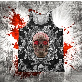 Unisex Silver And Red Sugar Skull Tank Top