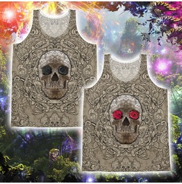 Unisex Cream Sugar Skull With Roses Tank Top