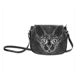 Black Sphinx Cat Saddle Bag