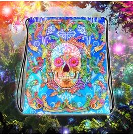Sugar Skull Psychedelic Drawstring Bag
