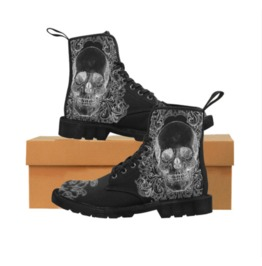 Black Skull Ladies Combat Boots