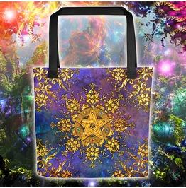 Golden Pentacle Or Pentagram Tote Bag