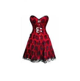 Women's Red Satin Black Net Overlay Gothic Burlesque Overbust Corset Dress