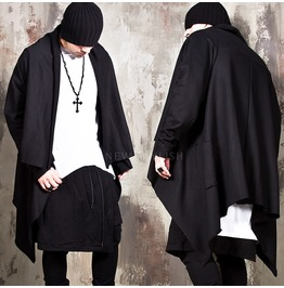 Asymmetric Black Long Shawl Cardigan 132