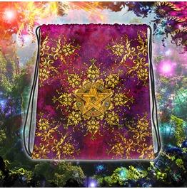 Golden Pentacle Or Pentagram Drawstring Bag