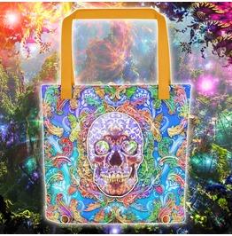 Sugar Skull Psychedelic Purple Tote Bag