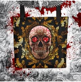 Gold Red Sugar Skull Tote Bag