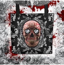Silver Red Sugar Skull Tote Bag