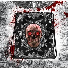 Silver Red Sugar Skull Drawstring Bag