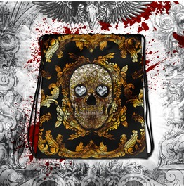 Gold Sugar Skull Drawstring Bag