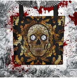 Gold Sugar Skull Tote Bag
