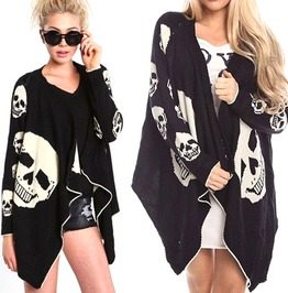 Gothic Black Women's Skull Head Cardigan