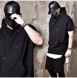 Boxy Ray Black Short Sleeves Hoodie 195