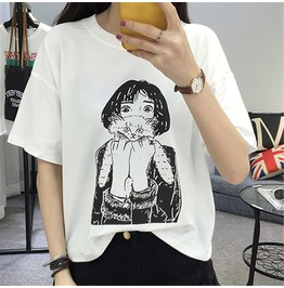 Girl With Cat T Shirt / Camiseta Chica Con Gato Wh072