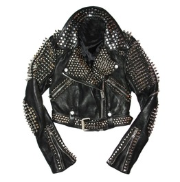 Men Black Leather Rock Punk Style Studded Spiked Biker Moto Jacket For Mens