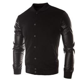 Leather Sleeved Retro Bomber Men's Jacket