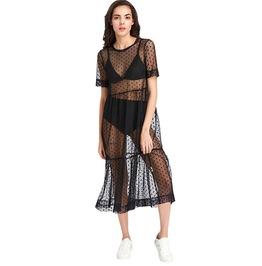 Gothic Black Women's Tiered Sheer Beach Dress