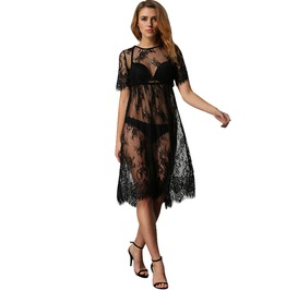 Women's Sheer Short Sleeve Lace Beach Dress