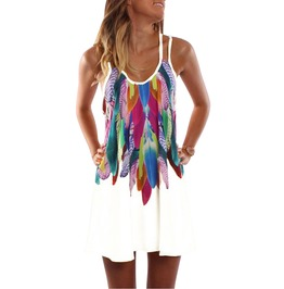 Boho Feathers Print V Neck Loose Sleeveless Summer Beach Mini Dress