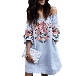 Boho Off Shoulder White Blue Floral Print Long Sleeve Loose Festival Dress