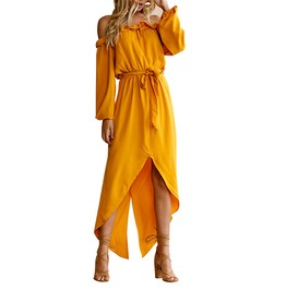Boho Off Shoulder Yellow Long Sleeve Asymmetrical Summer Maxi Dress