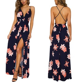 Boho Deep V Neck Floral Print Cross Lace Up Backless Maxi Dress