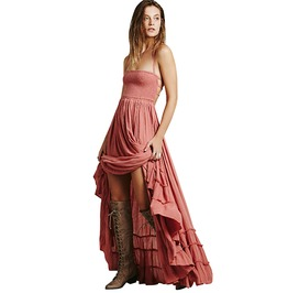 Boho Hippie Vintage Square Collar Backless Flare Ruffle Side Maxi Dress