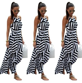 Boho Geometric Print Halter Spaghetti Strap Long Flare Maxi Beach Dress