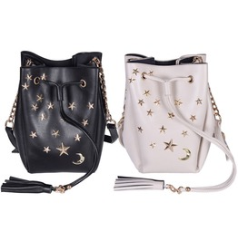 Bucket Bag Women Shoulder Bag Synthetic Leather Drawstring Bag