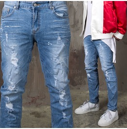 Claw Wrinkle Distressed Washed Slim Jeans 357